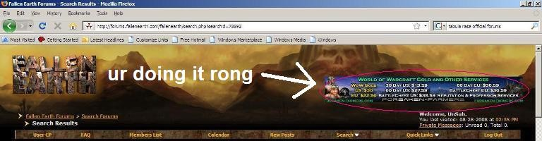 The Fallen Earth Forums advertising a WoW gold selling site.