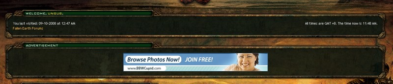 An ad on the Fallen Earth forums advertising a BBW dating service