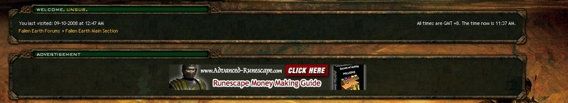 An ad on the Fallen Earth forums for a Runescape moneymaking guide