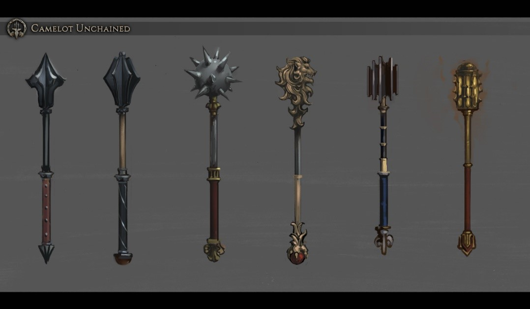 Camelot Unchained Concepts of Arthurian maces.
