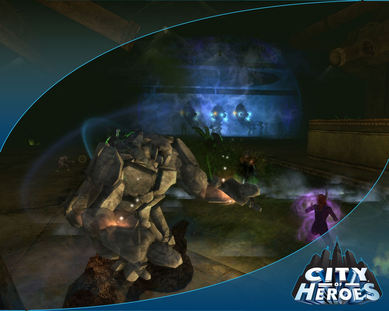 City of Heroes - Stonetank with team, fighting rikti in a sewer.