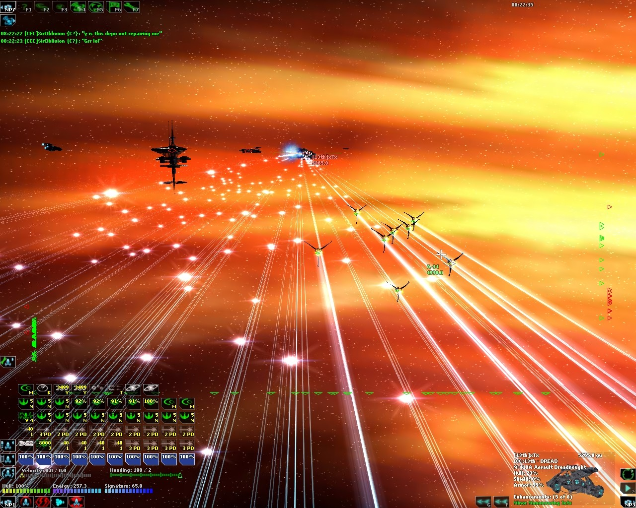 DarkSpace - Fighters attacking an ICC Dreadnought.
