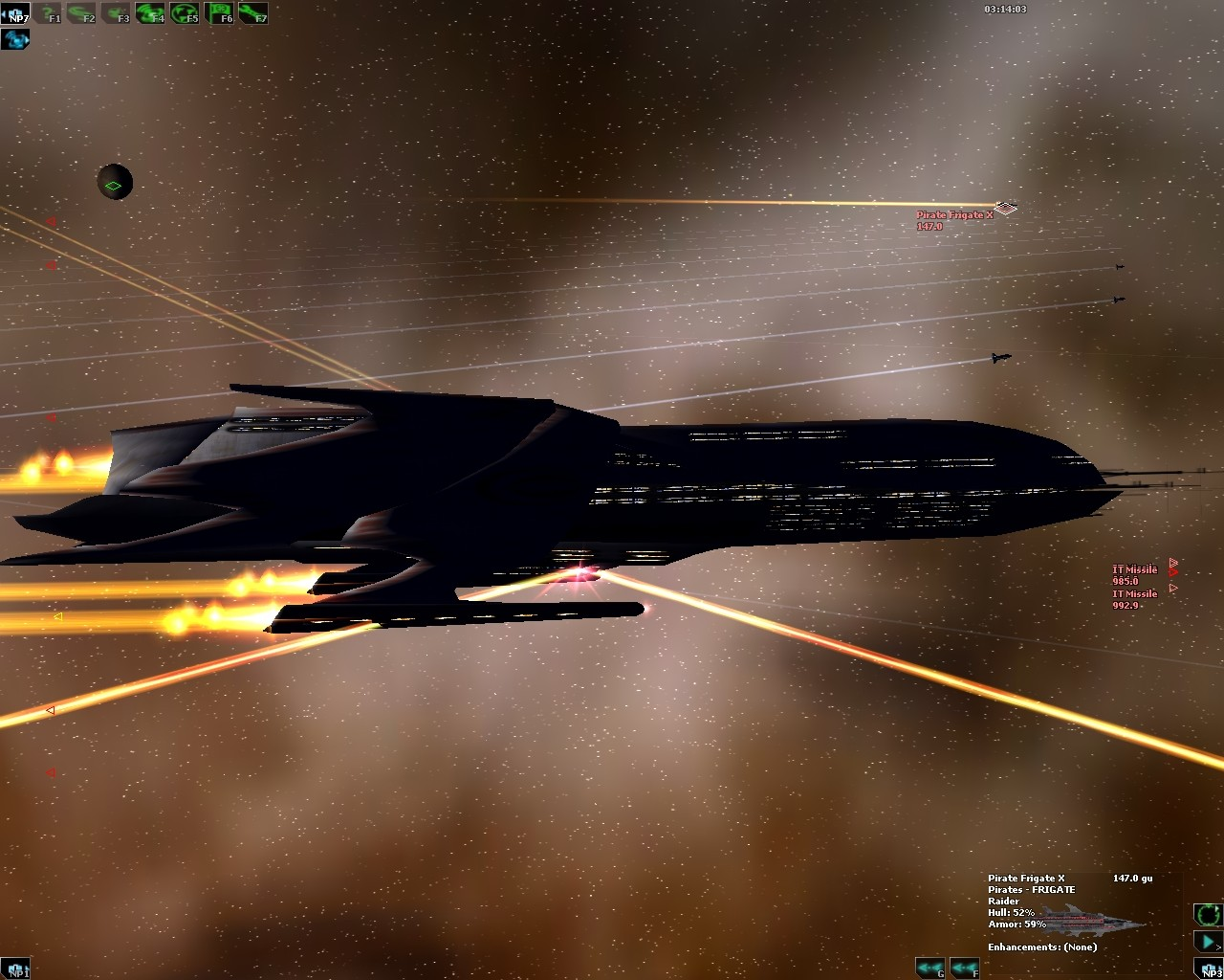DarkSpace - A UGTO Battlecruiser launching SABOT Rockets