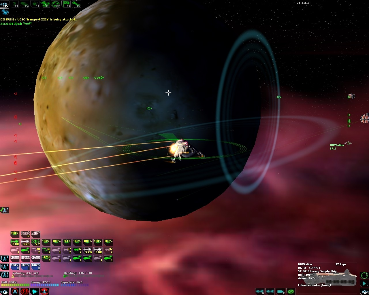 DarkSpace - An Ion Tracker Missile explosion on a UGTO Cruiser
