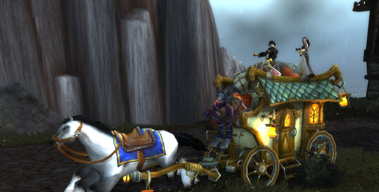 World of Warcraft - The only MMO with werewolves driving horse-drawn carriages while peasants are car-surfing on the roof with shotguns blasting forsaken....