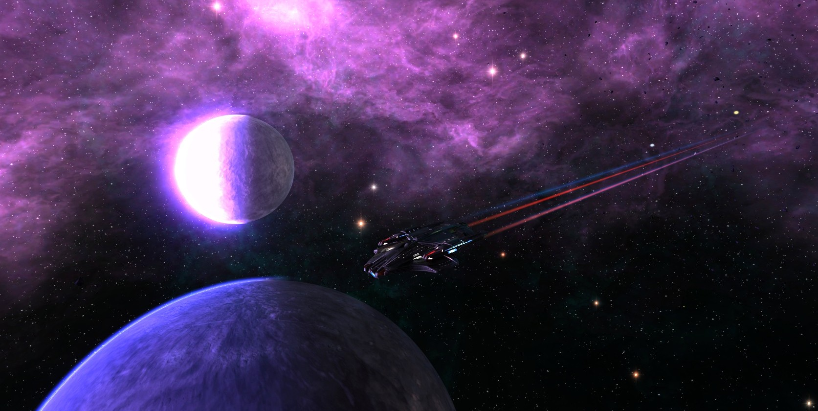 Star Trek Online - A planet and it's moon.