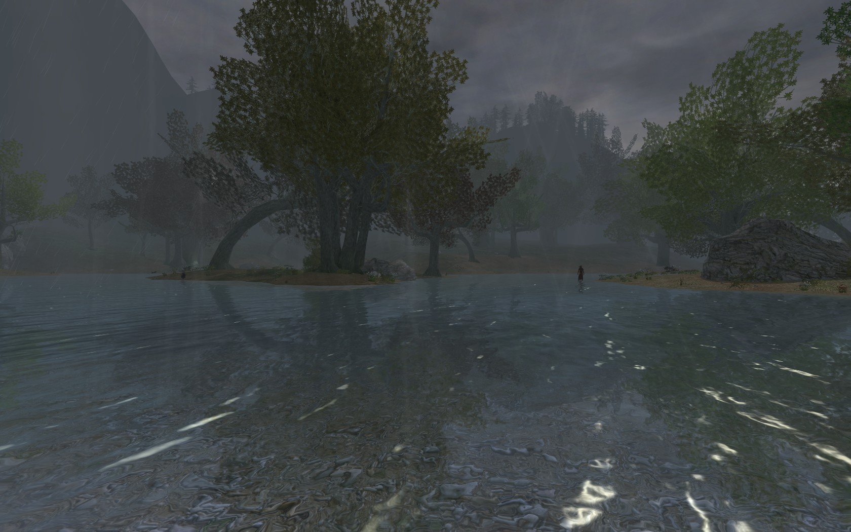 Lord of the Rings Online - A lake in Enedwaith during a storm