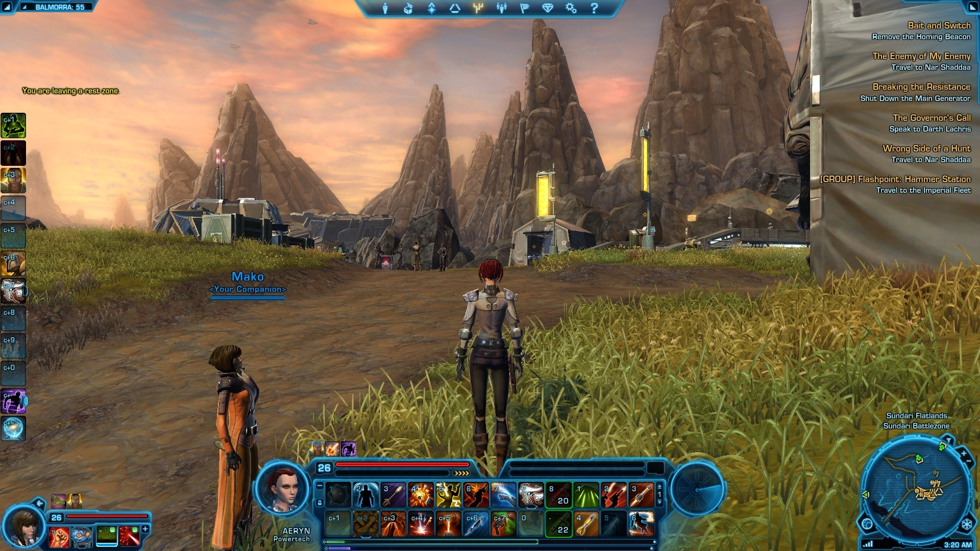 Star Wars: The Old Republic - Note the time