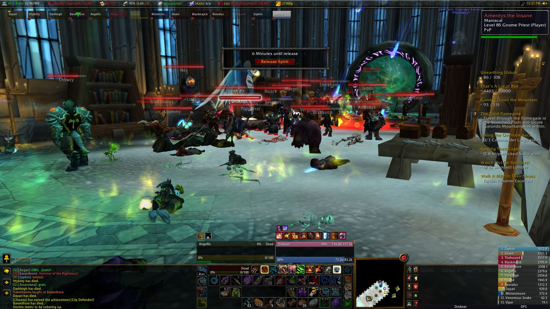 World of Warcraft - Steadfast held the Mages Tower for 30 minutes until the Alliance came in full force and wiped us. All in fun, ;D