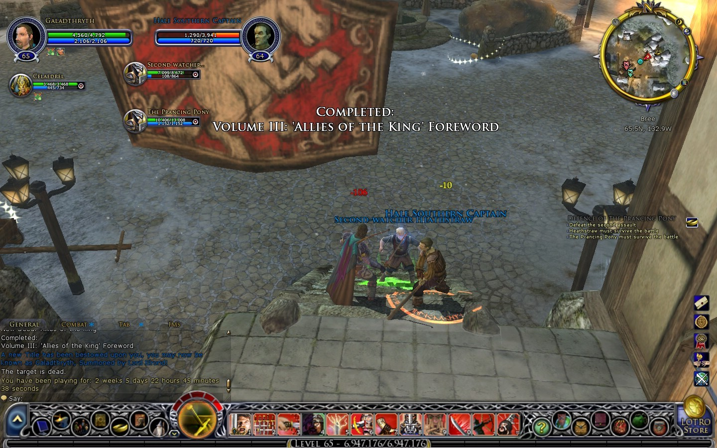 Lord of the Rings Online - Galadthryth of Rohan finally reaches level 65 after almost 500 hours in Middle Earth
