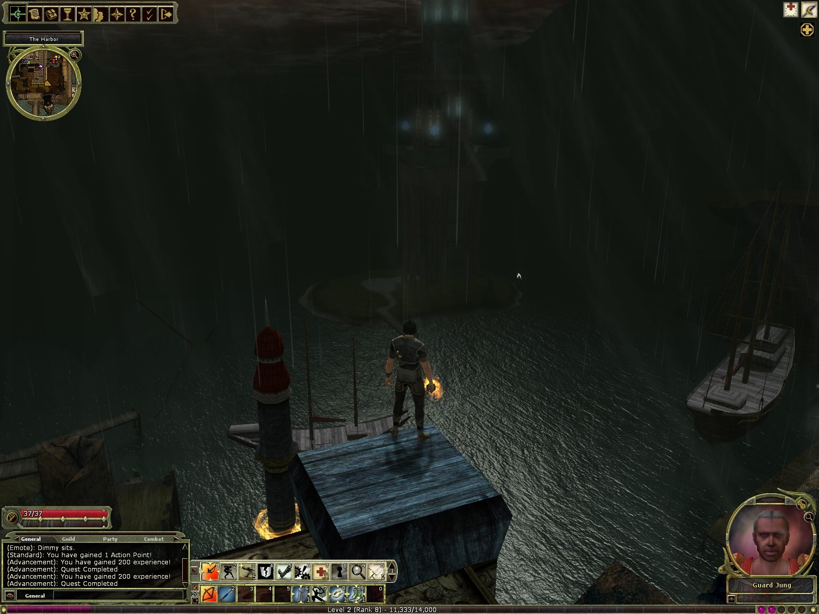 Dungeons & Dragons Online - DDO: At night, look from the Harbor cliff