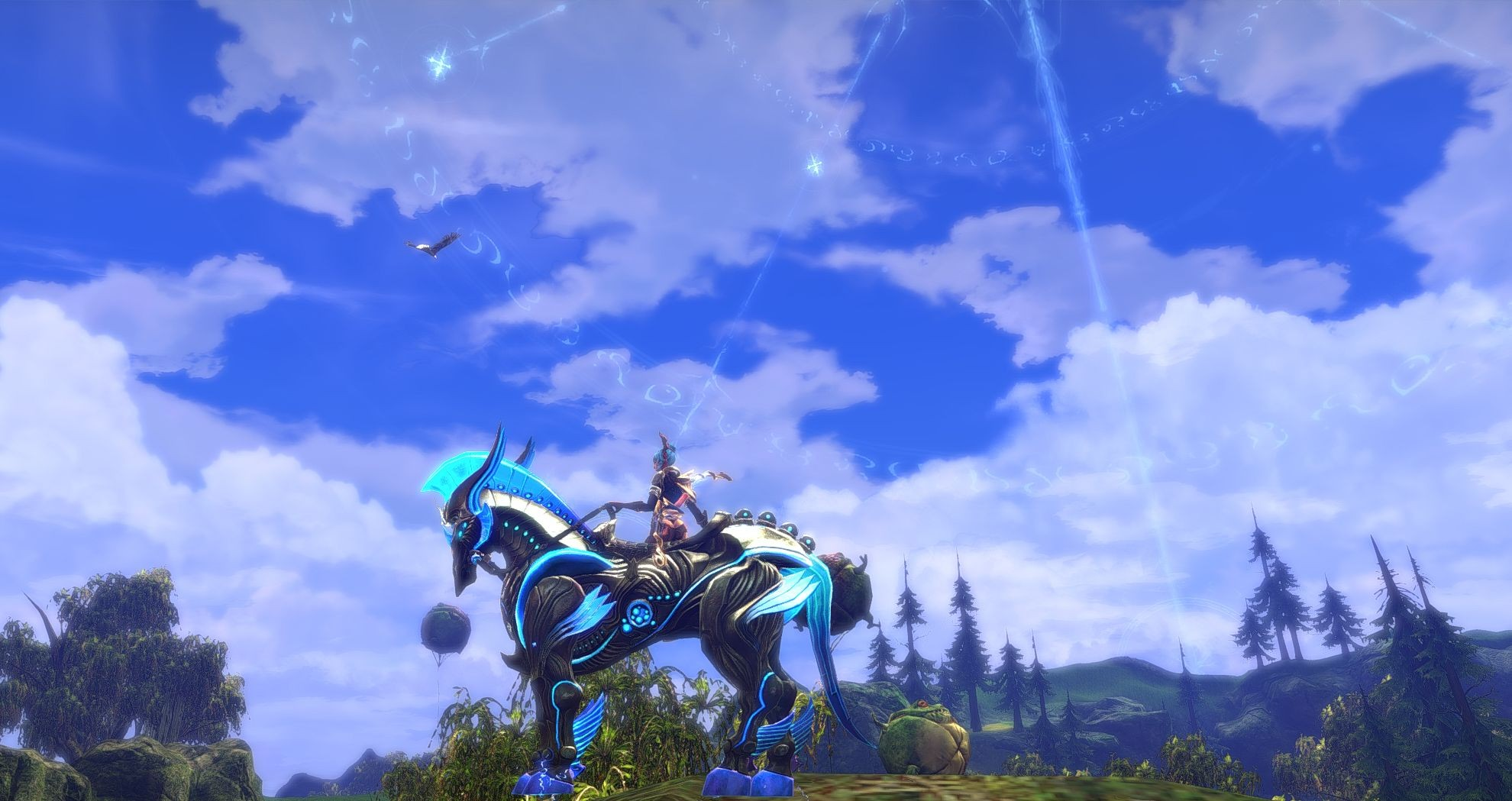 TERA: Rising - Chillaxing on the Terminus mount. Forgot to CTRL-Z, so cropped it to the center monitor.