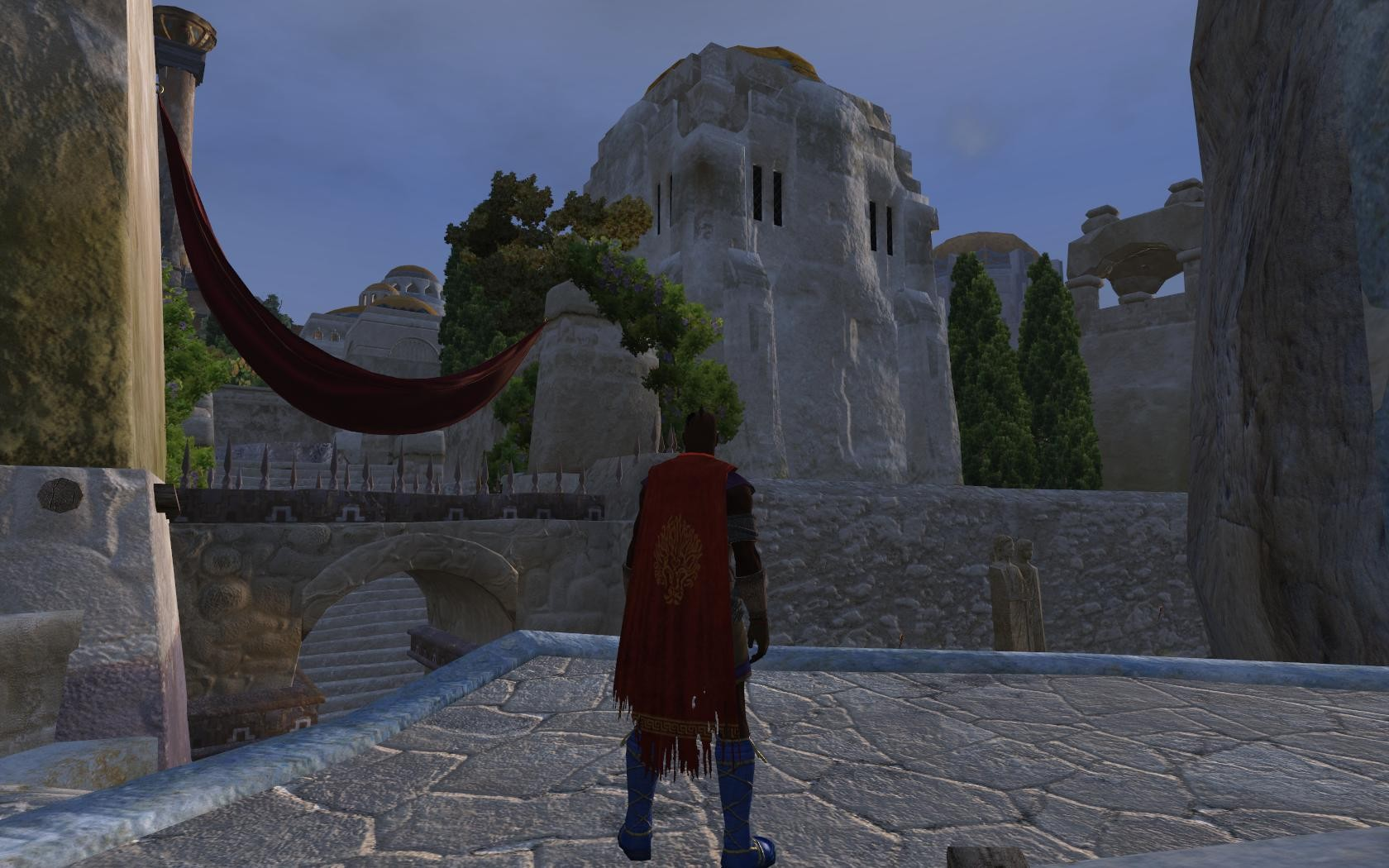 Age of Conan: Unchained - lvl 42 Assassin looking towards the villas in Tarantia Noble District