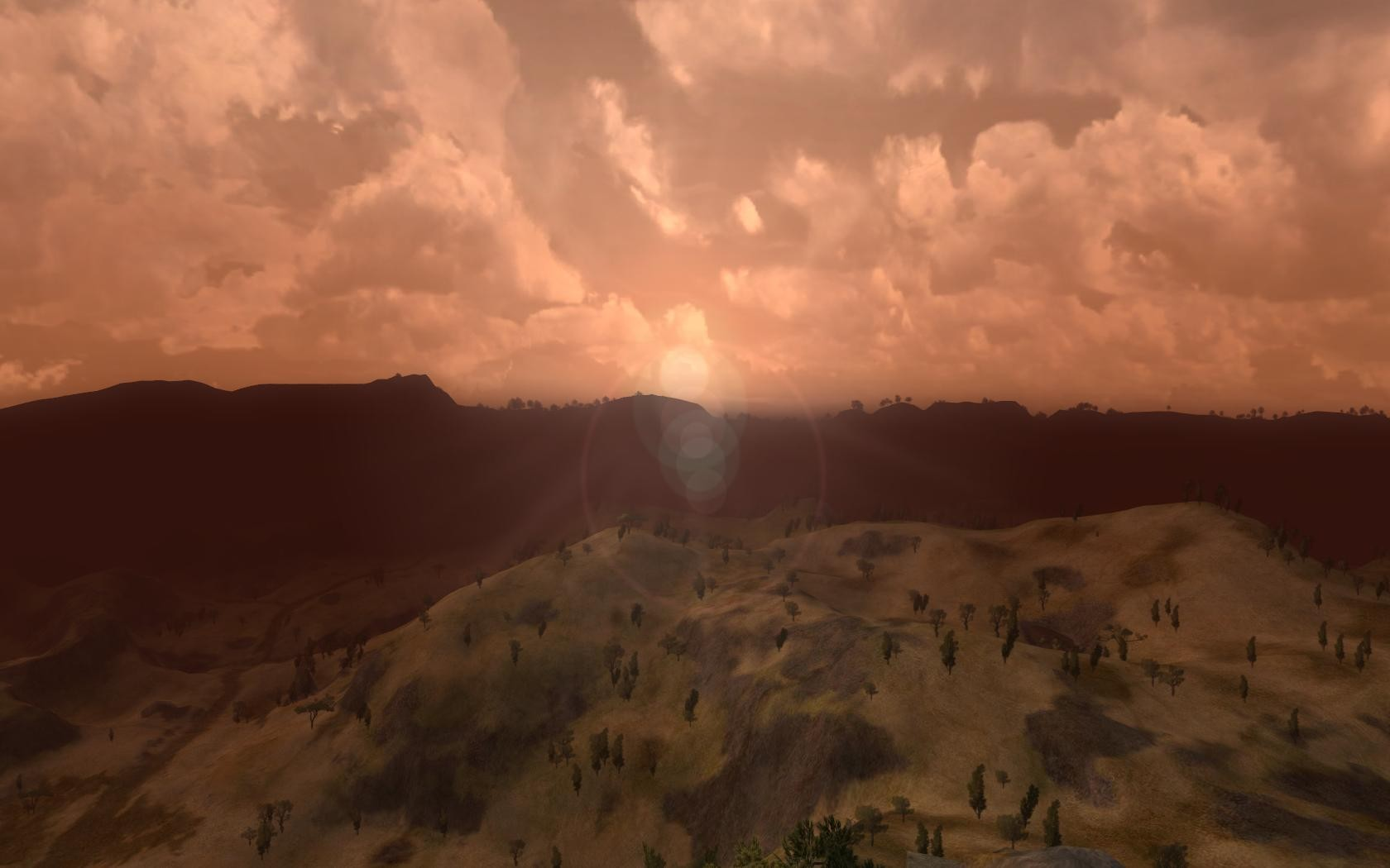 Lord of the Rings Online - Sunrise over The Lone-lands atop Amon Sul