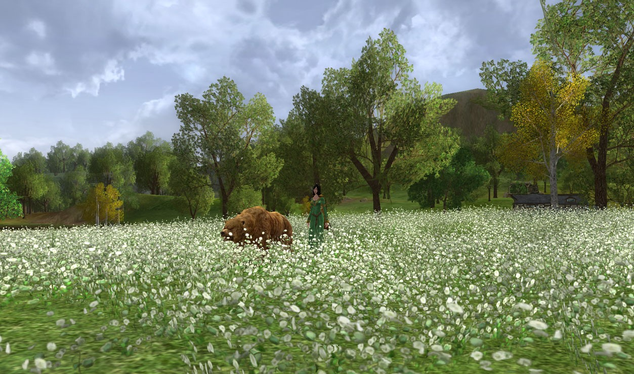 Lord of the Rings Online - Bree fields in spring, with my bear