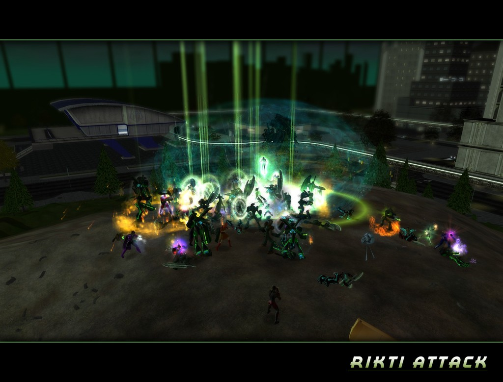 City of Heroes - Heroes holding off the rikti invasion in talos island