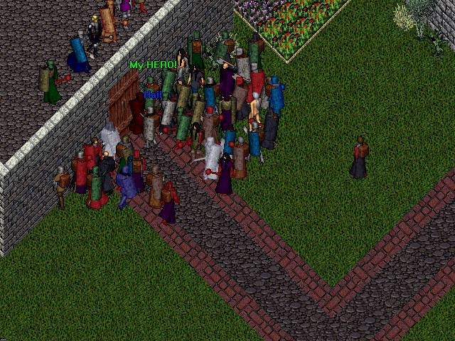 Ultima Online - A huge gathering to hear Lord British (top left) speak before the server shutdown ending the first bout of testing.