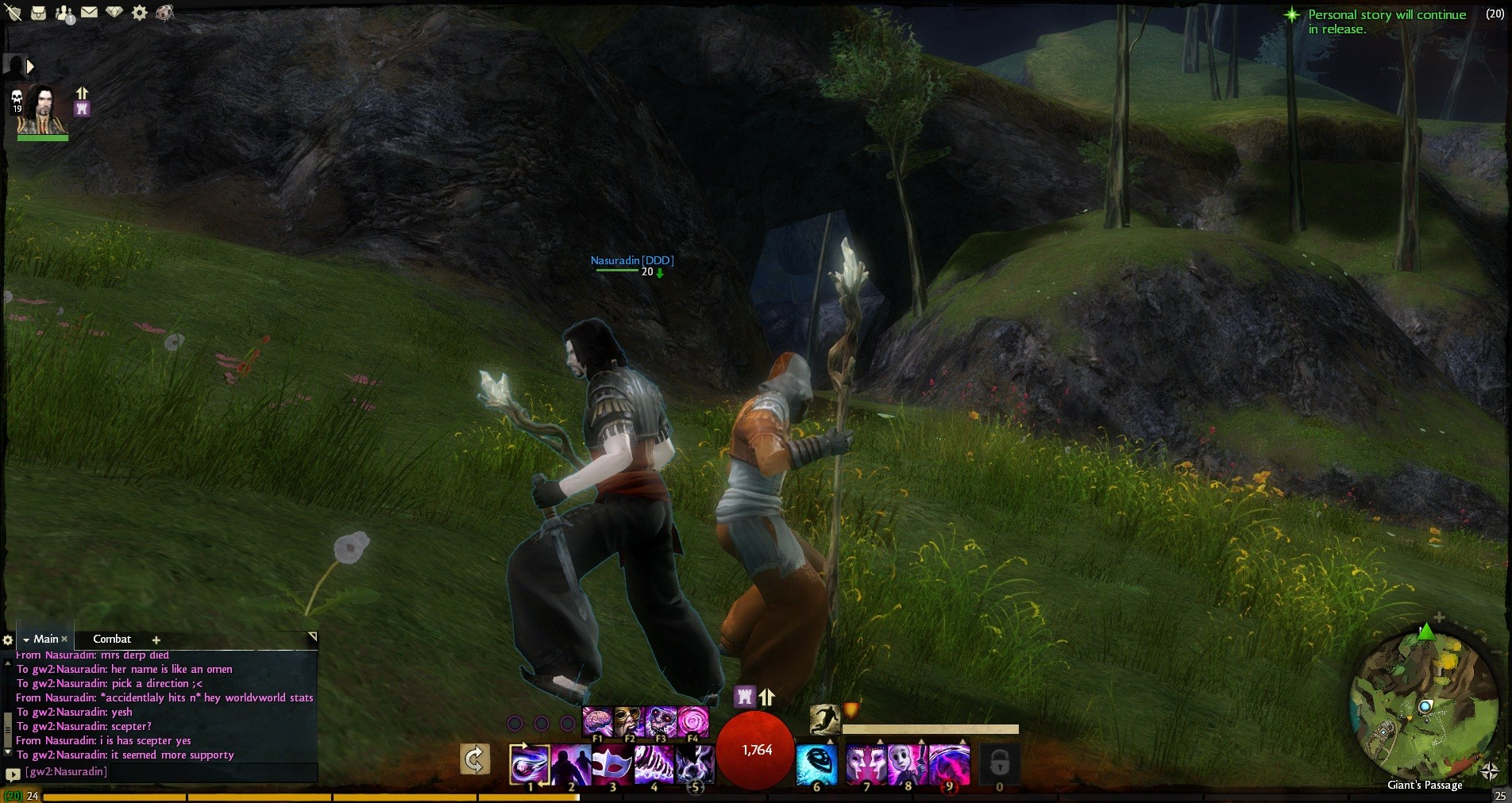 Guild Wars 2 - My necro friend and I. Ignore the chat.