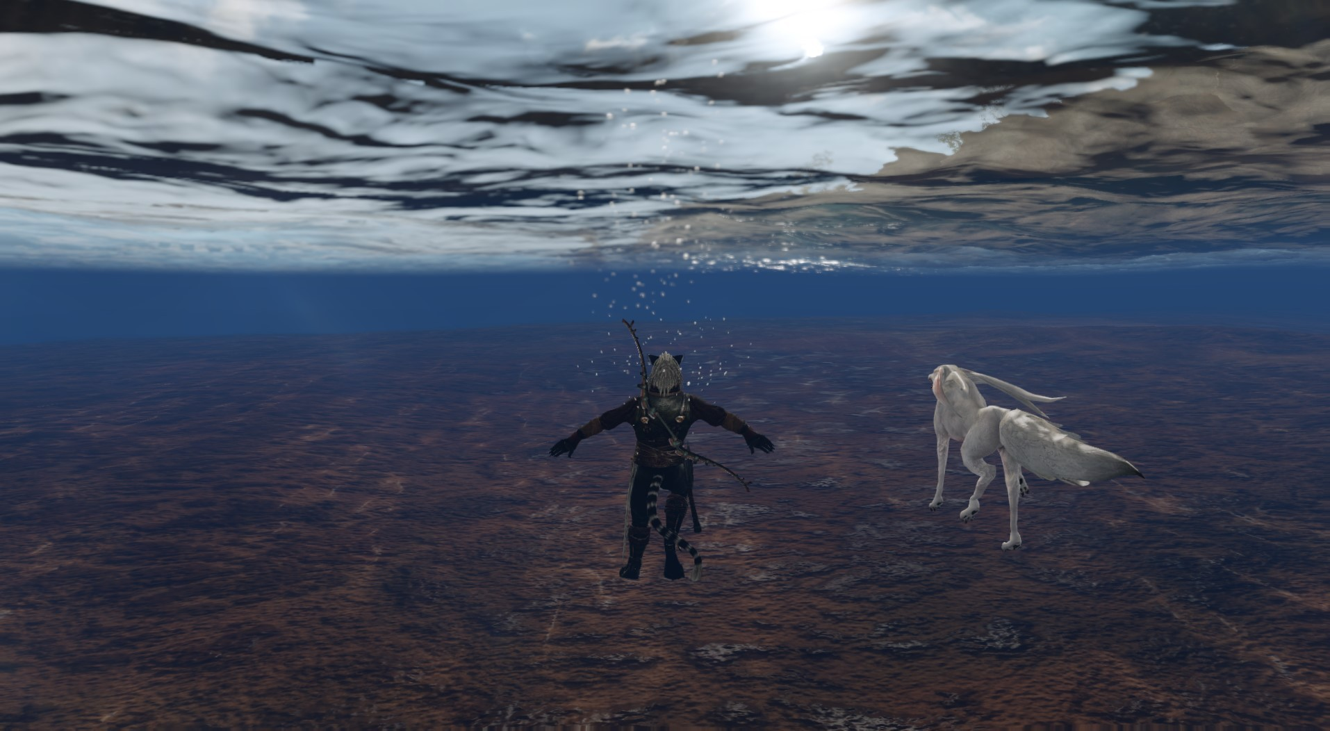 ArcheAge - My pal and I swimming at sunset..