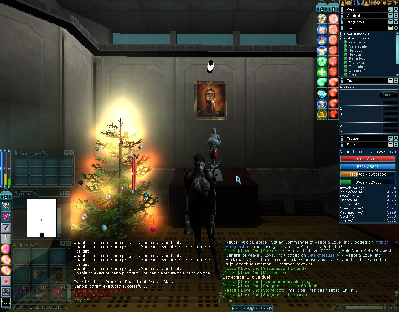 Anarchy Online - Christmas at Nuhmudiira's apartment, 2004.