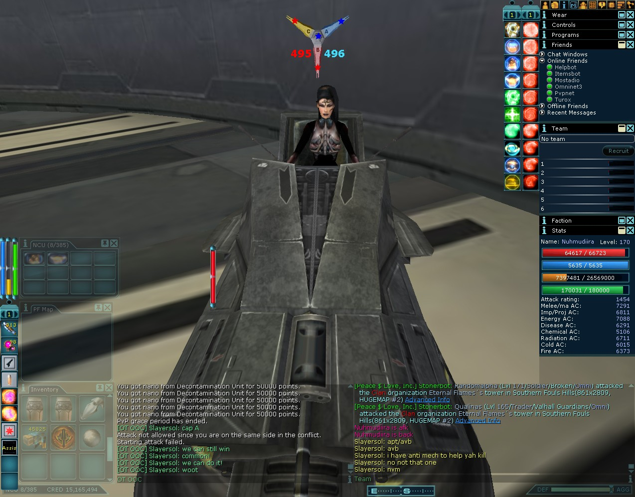Anarchy Online - Setting up shop in a Mech.