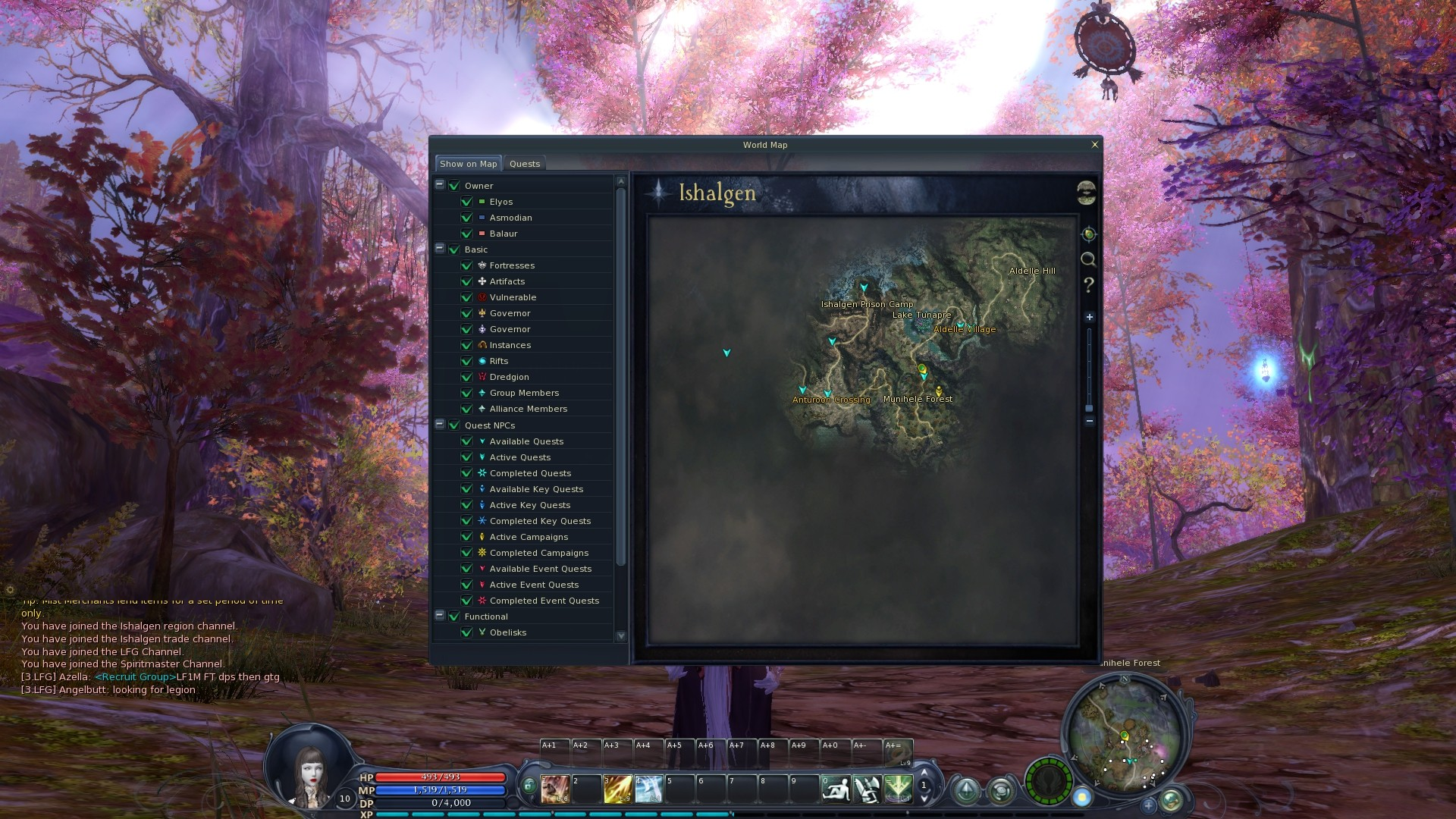 Aion - Newish UI better than original (IMO) and better world map.