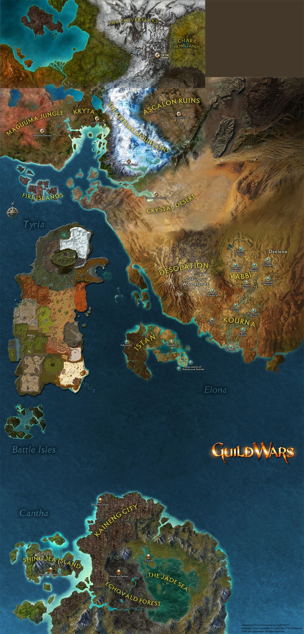 Guild Wars, the known world