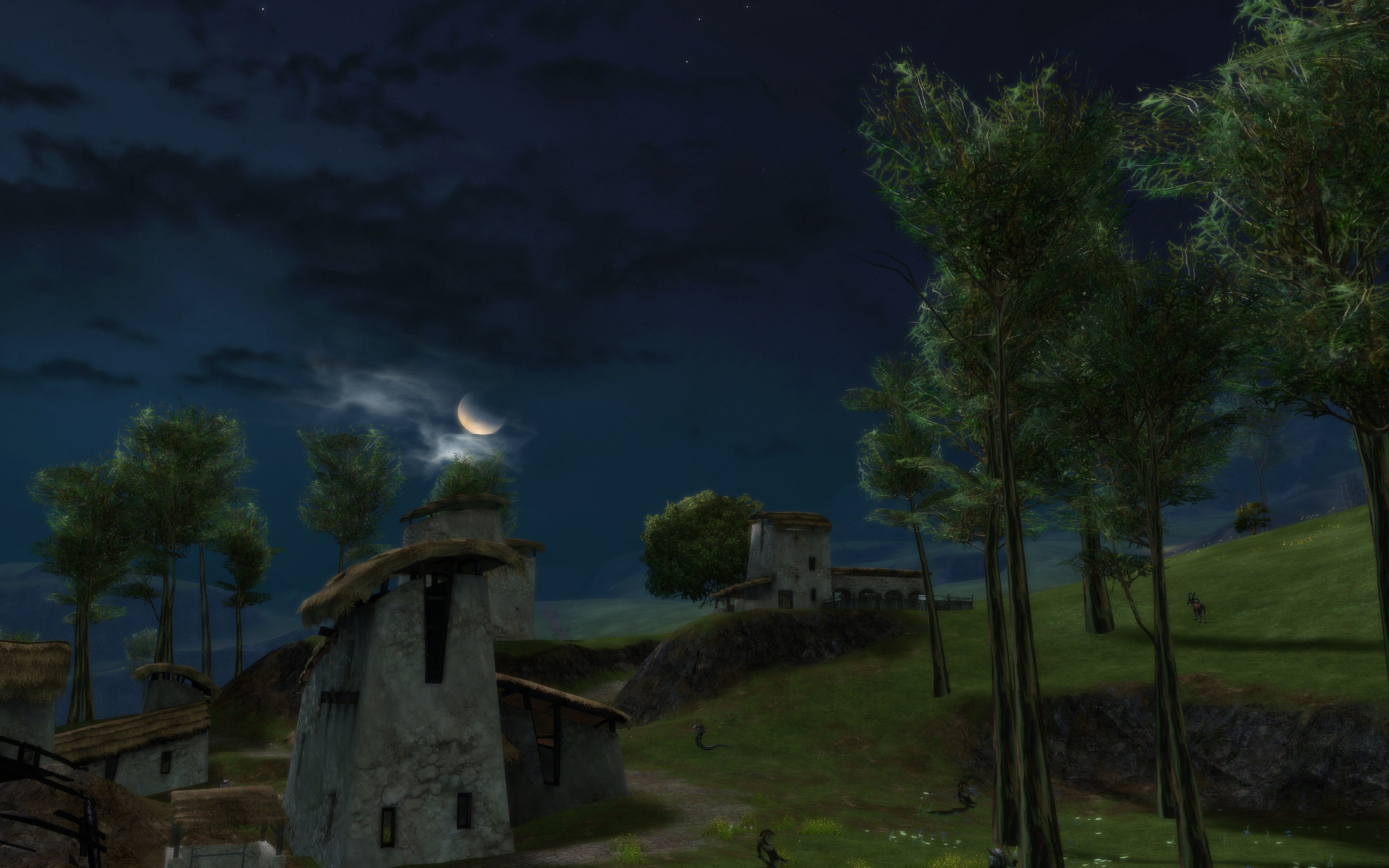 Guild Wars 2 - Kessex Hills at night.