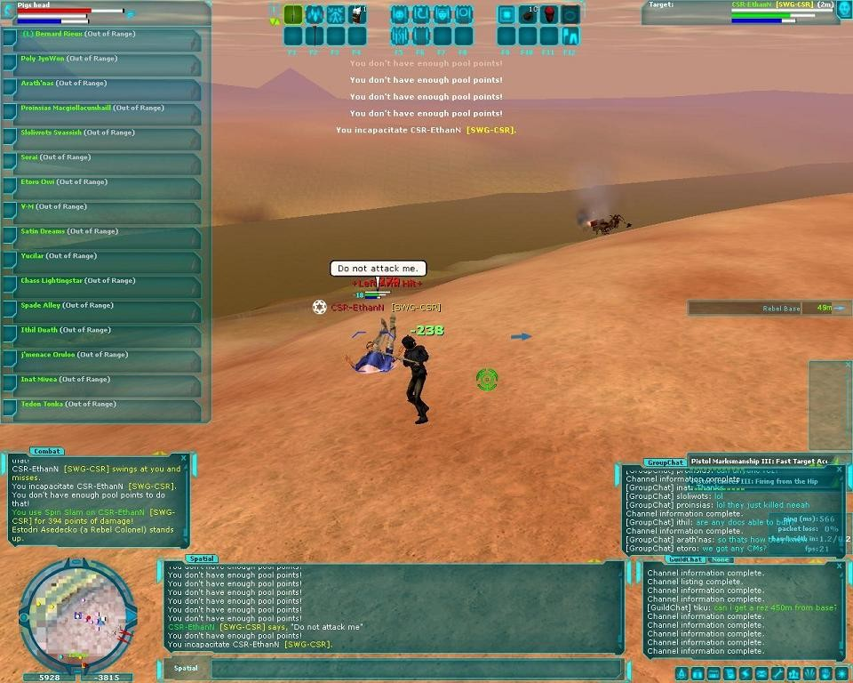 Star Wars Galaxies - CSR Pwned (not my own screenshot)