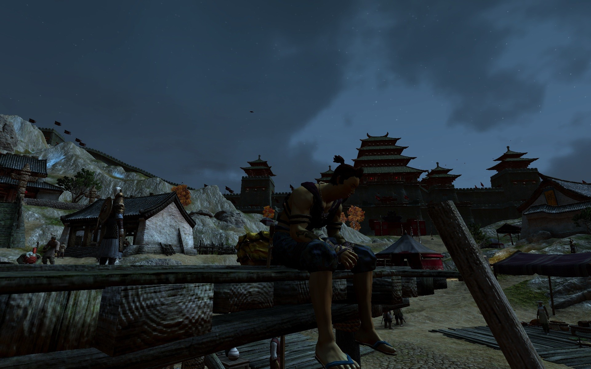 "Age of Conan: Unchained - Visiting AoC: Rise of the Godslayer. Nelok relaxing in ""Gateway to Khitai""."