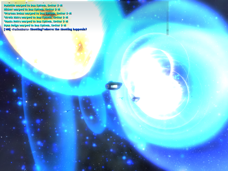 Vendetta Online - Massive convoy jumping through wormhole in Vendetta Online
