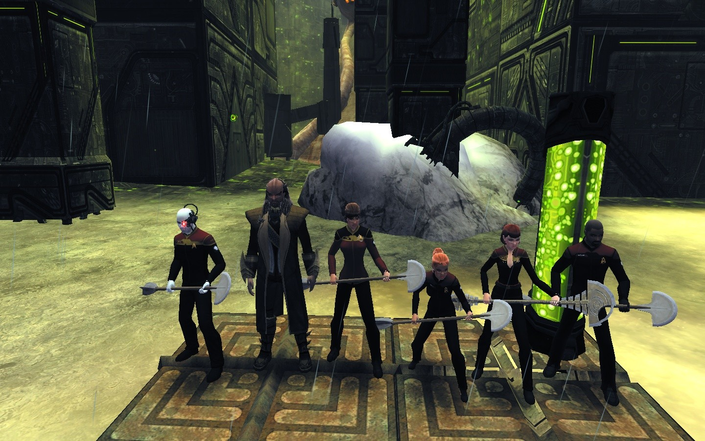 Star Trek Online - The Cure - L to R: Twenty, Klingon Captain Ja'rod (NPC), Srafa, Iceroid, Aqua, Gabriel