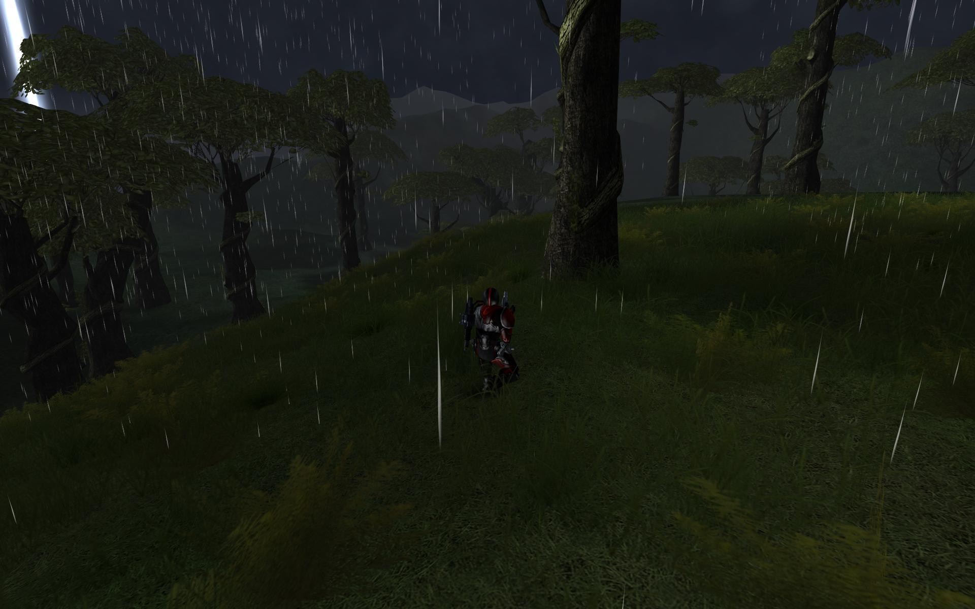 PlanetSide - A hefty rain before a tower raid.