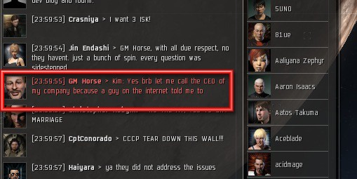 EVE Online - not the best moment for sarcasm ..