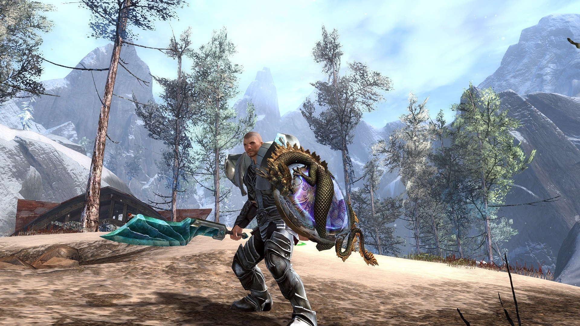 GW2 Guardian wielding Crystaline Sword and New Jade Shield!