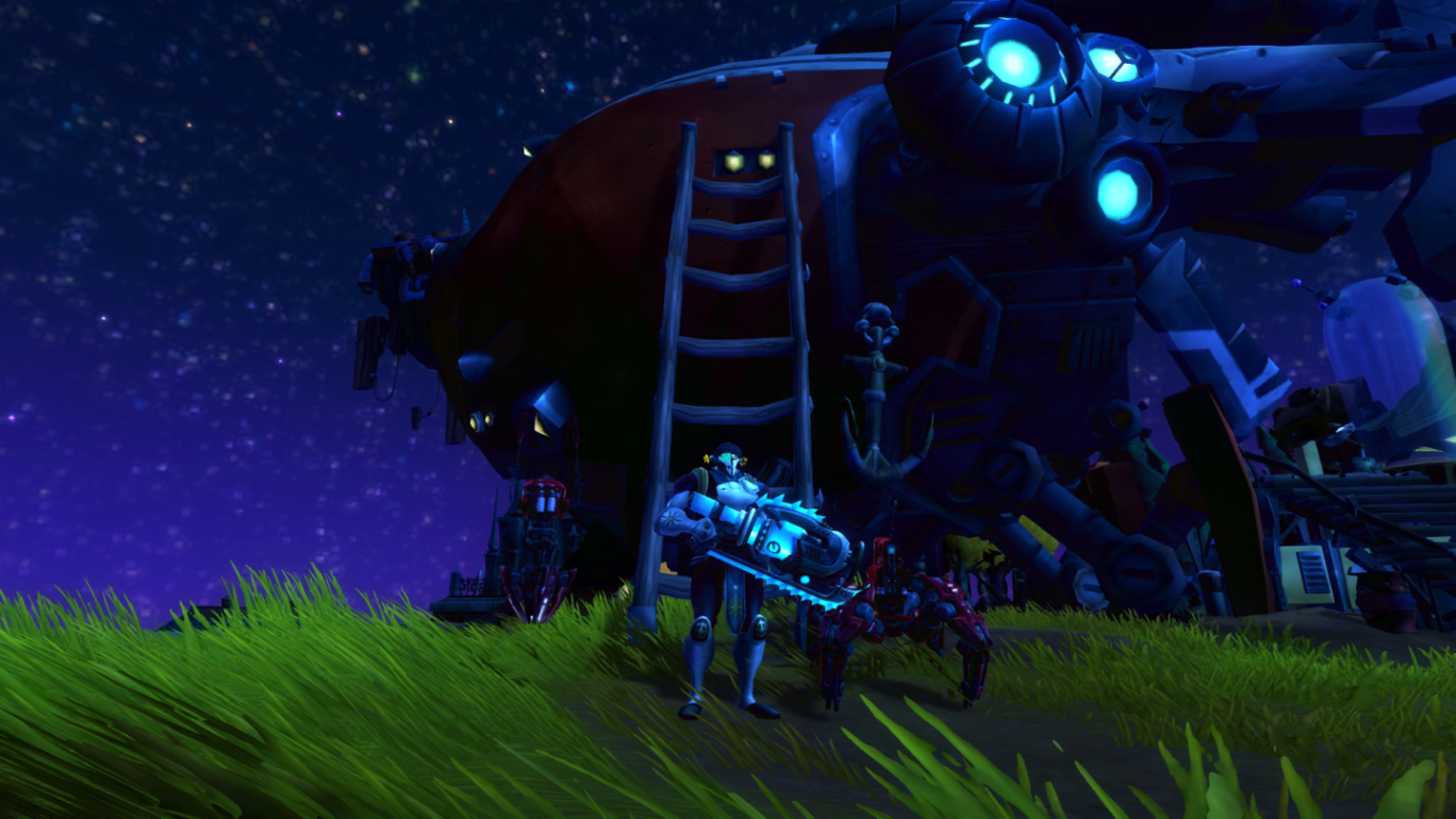 WildStar - My spaceship house with bots and explorer's costume.