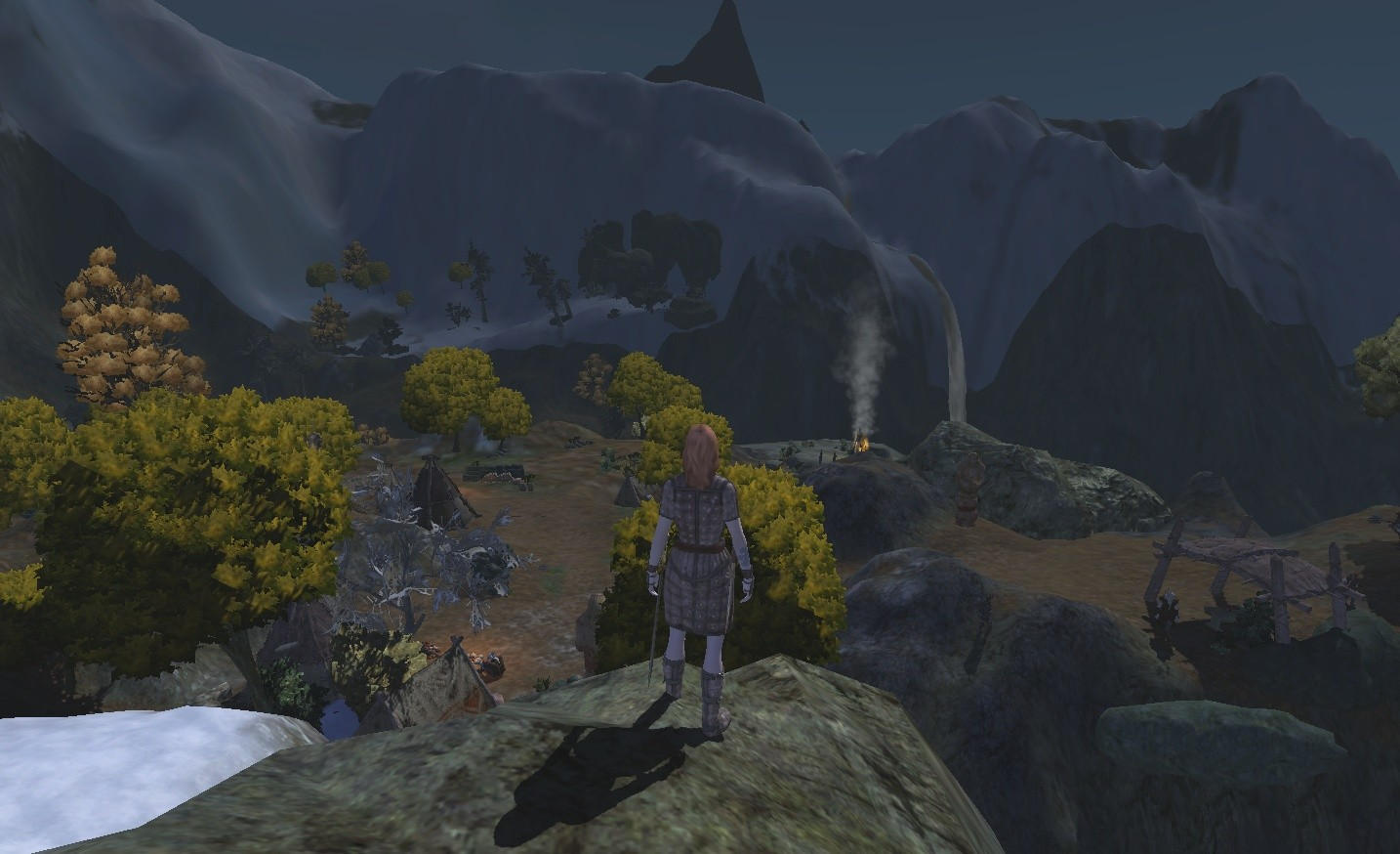 Age of Conan: Unchained - Conall's Valley at night - entrance to Ymir/vanir grounds.