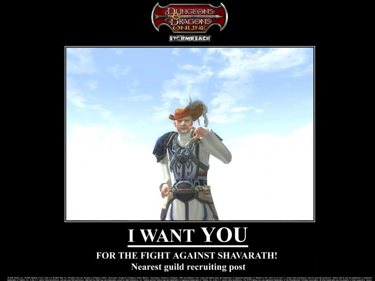Dungeons & Dragons Online - DDO:U Yeah, we want YOU. Not that one hiding behind you. Are you up to the challenge? ; ) From DDOCast.com.
