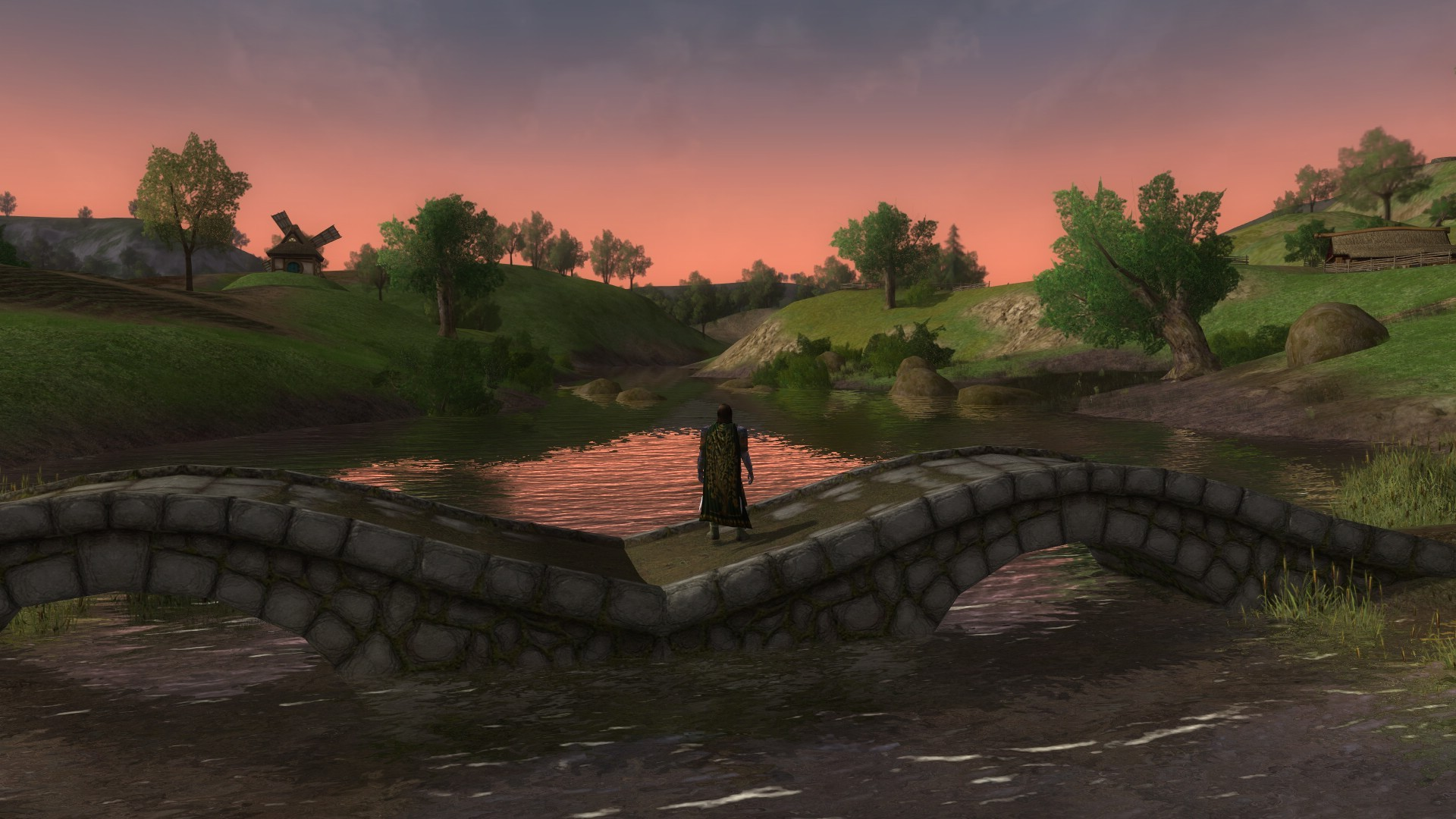 Lord of the Rings Online - The Shire at dawn. A lovely sight for a visitor from the Dale.