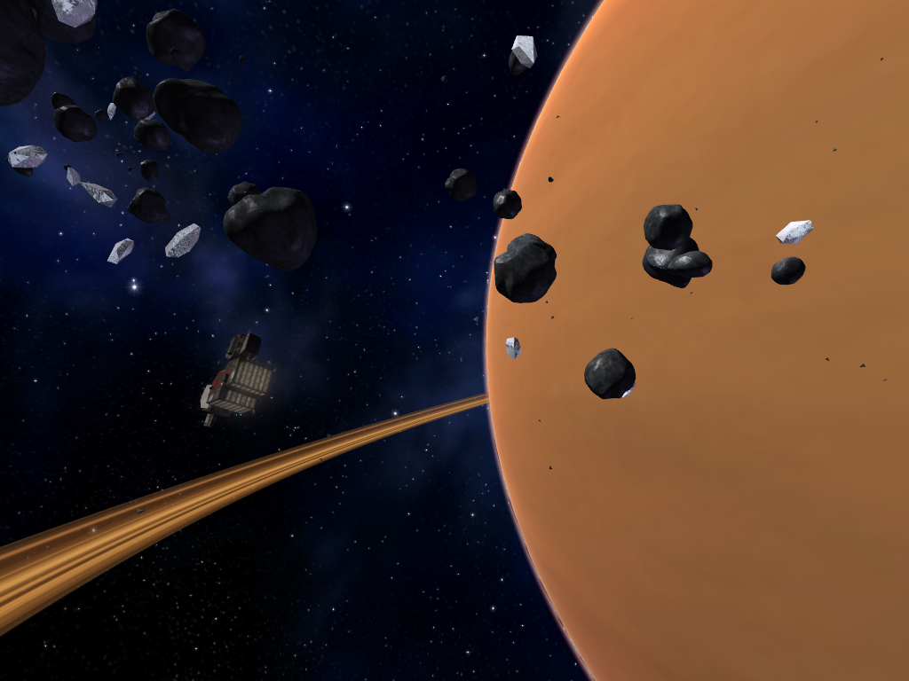 Vendetta Online - Station in Asteroid Belt with ringed planet in background. Vendetta Online