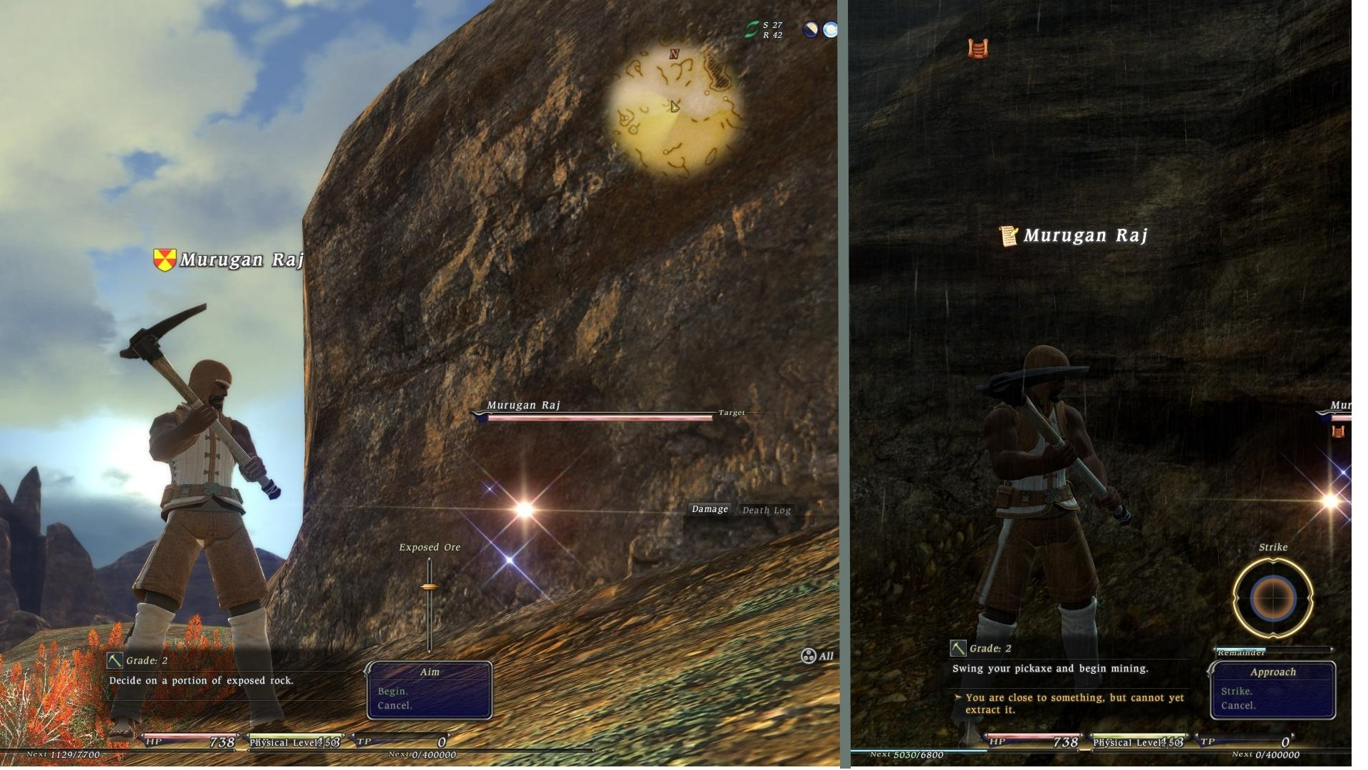 Final Fantasy XIV: Heavensward - Mining in FFXIV. Step 1: Aim at a spot (successful attempts give hints at location of certain materials), Step 2: Hot and cold minigame