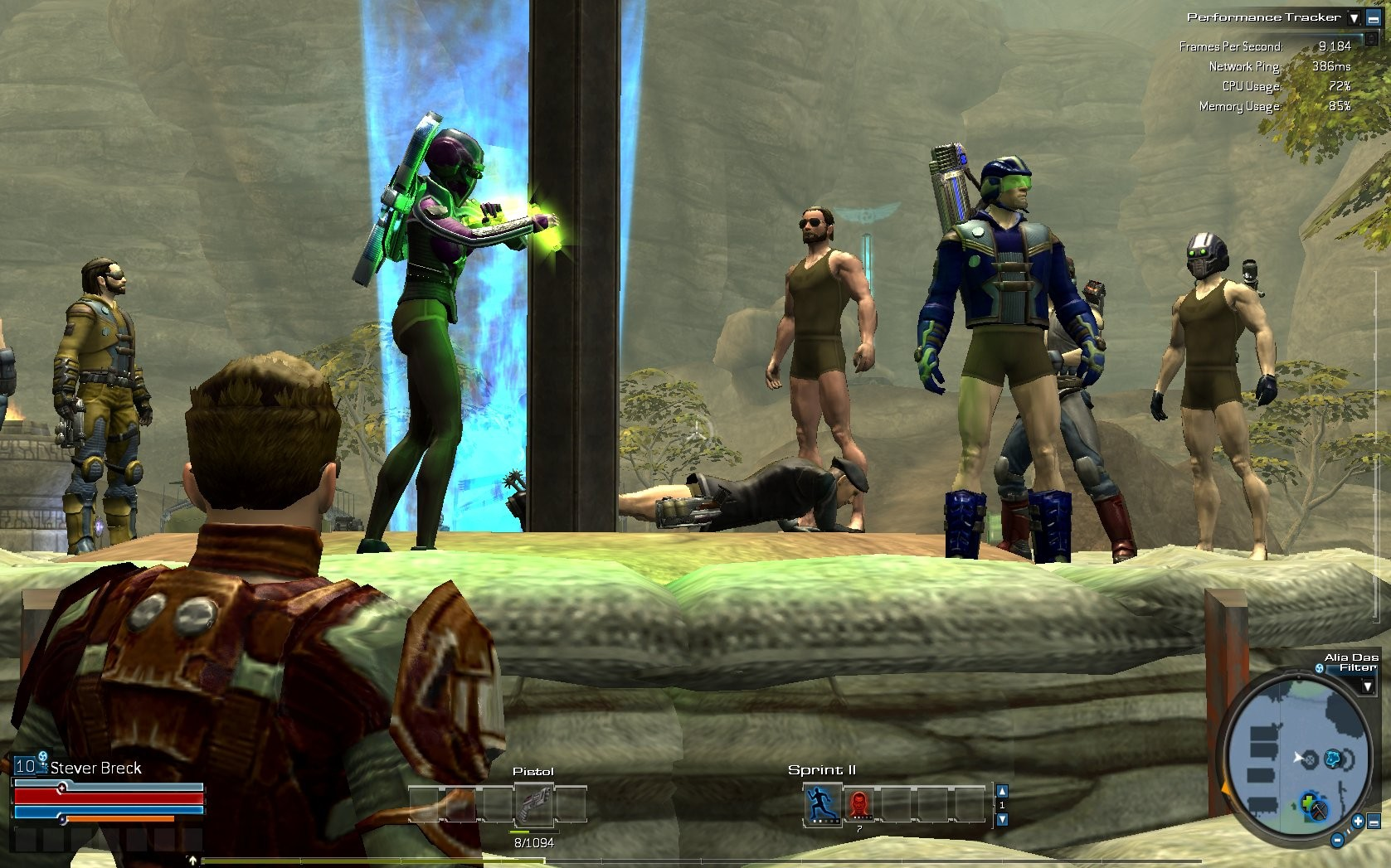 Tabula Rasa - Early in the beta after an incident where everyone logged in and had no pants on their characters.