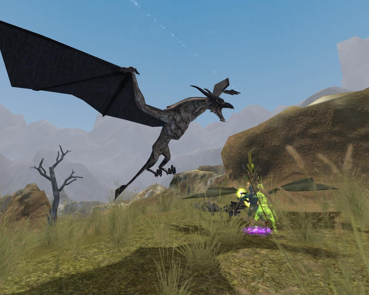 EverQuest II - A drake. The both guys died.