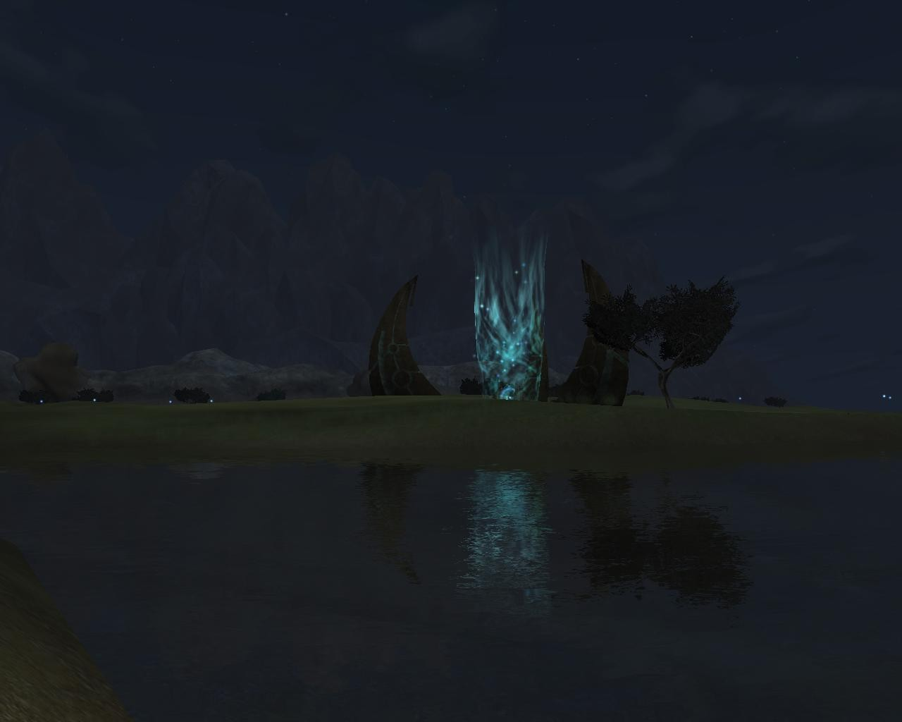 EverQuest II - Travel Spire in the Commonlands at night