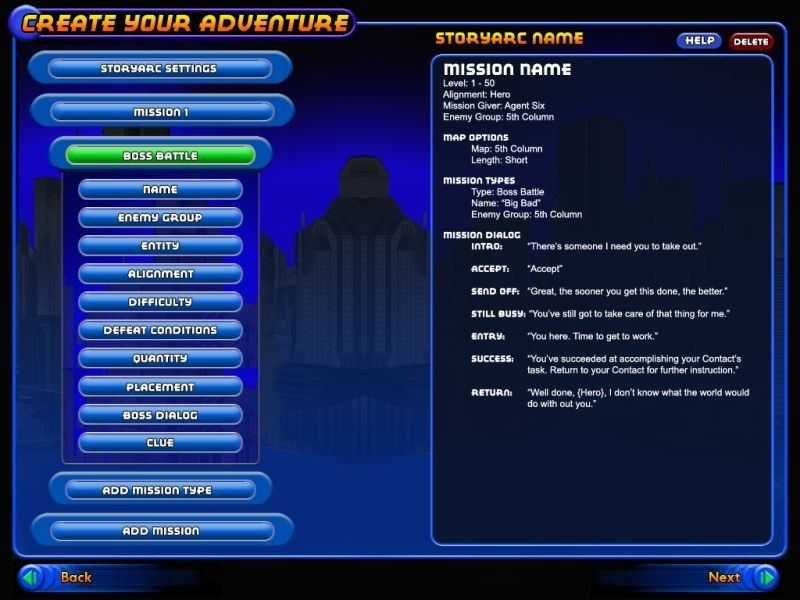 City of Heroes - A prototype screen (probably) for CoH/V's player created mission system