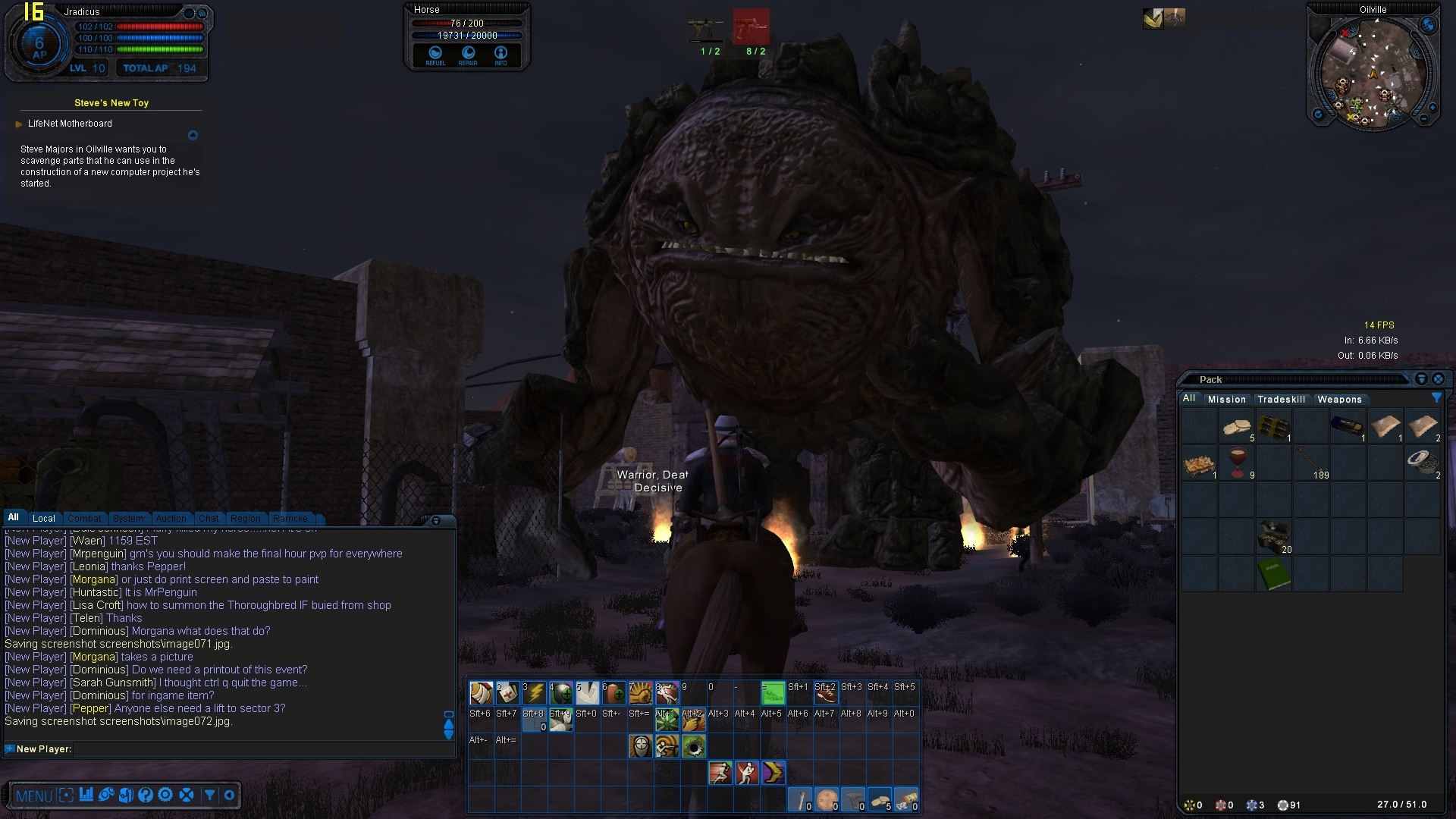 Fallen Earth - Attack in Oilville with UI on.