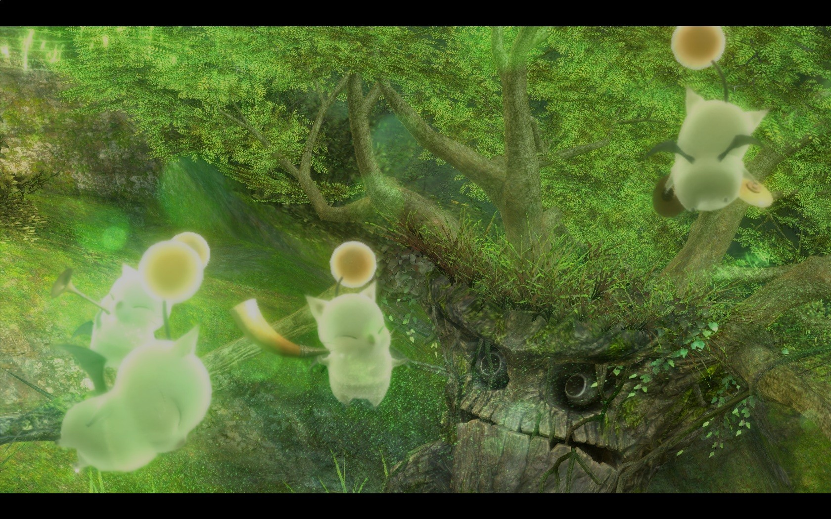 Final Fantasy XIV: A Realm Reborn - Moogles distracting treant