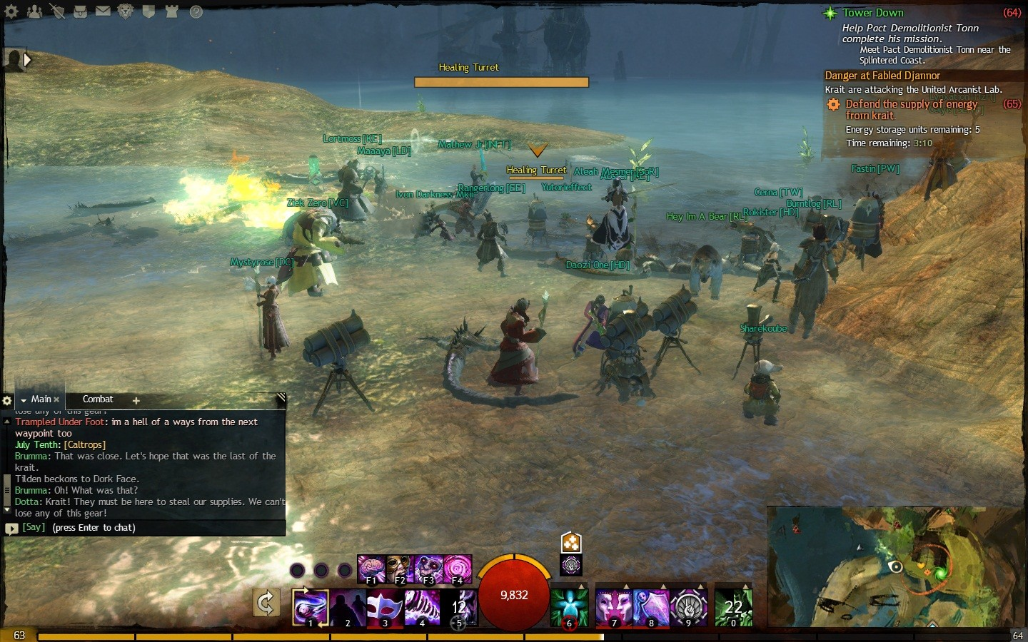 Guild Wars 2 - a lot of afk engineers