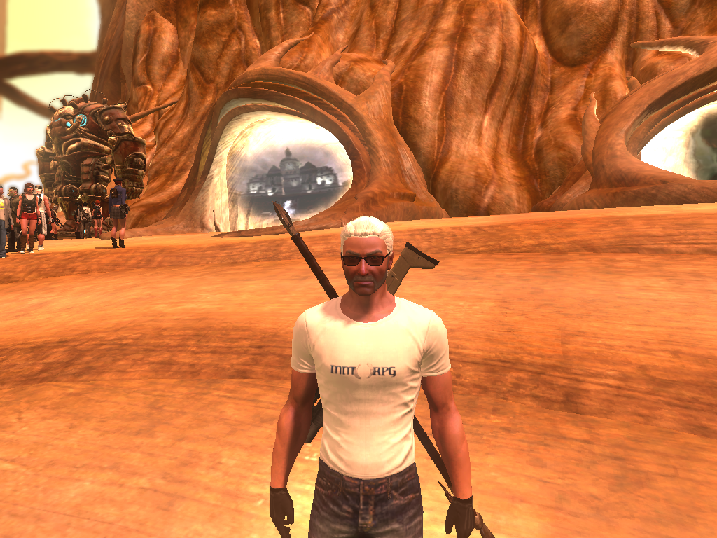 The Secret World - Fuzzmeister sporting his free MMORPG.COM t-shirt.