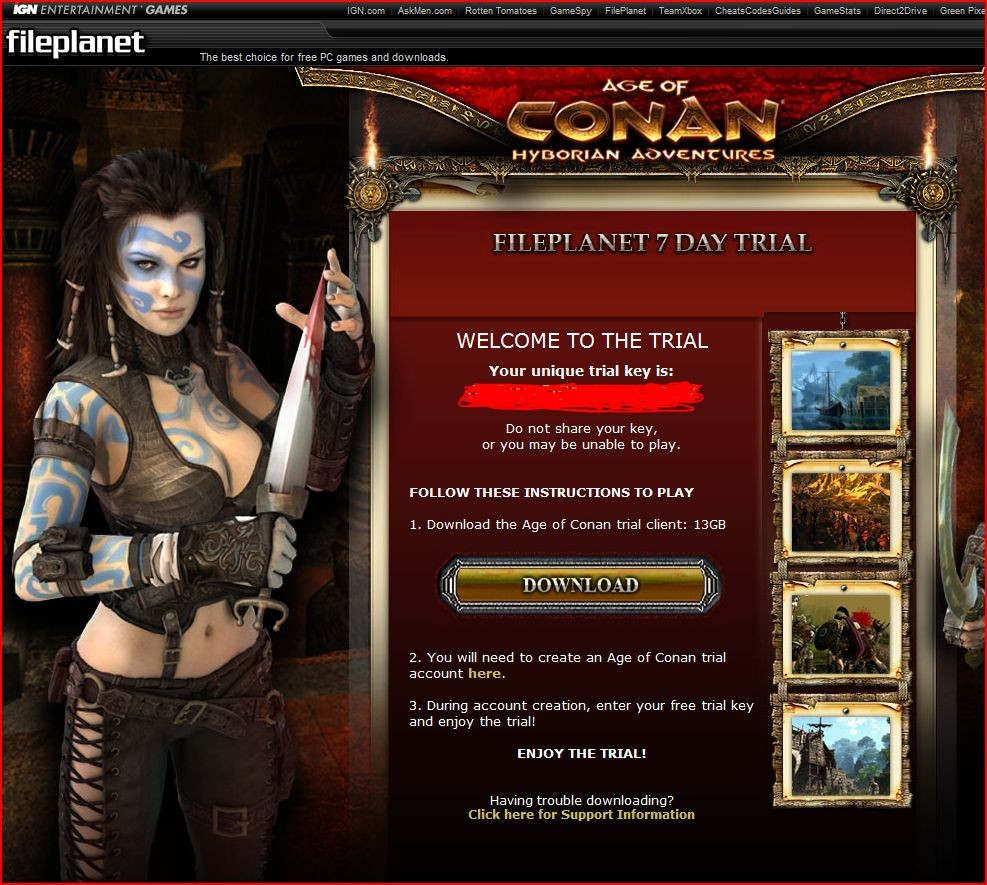 Age of Conan: Unchained - Proof of fileplanet trial